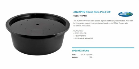 AQUAPRO Round Patio Pond 670