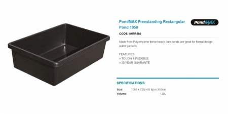PondMAX Freestanding Rectangular Pond 1050