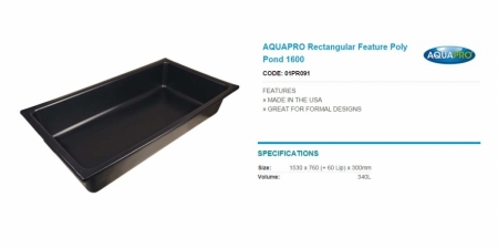 AQUAPRO Rectangular Feature Poly Pond 1600