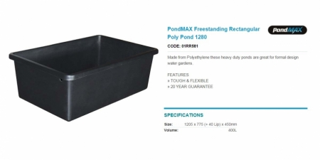 PondMAX Freestanding Rectangular Poly Pond 1280