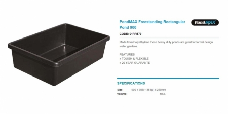 PondMAX Freestanding Rectangular Pond 900
