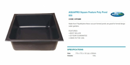 AQUAPRO Square Feature Poly Pond 850