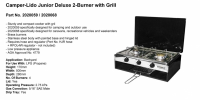 Camper-Lido Junior Deluxe - 2 Burner with Grill - Part No. 2020059-2020068