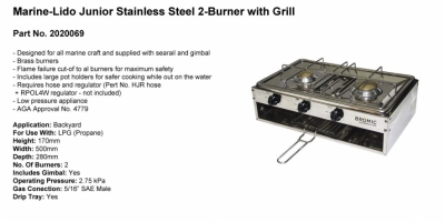 Marine-Lido Junior Stainless Steel - 2 Burner with Grill - Part No. 2020069