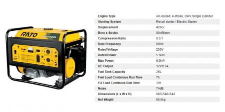 R2000D 6KW Electric Start Generator
