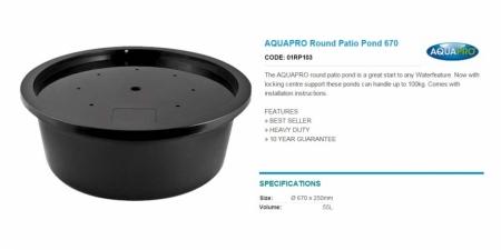 AQUAPRO Round Patio Pond 670