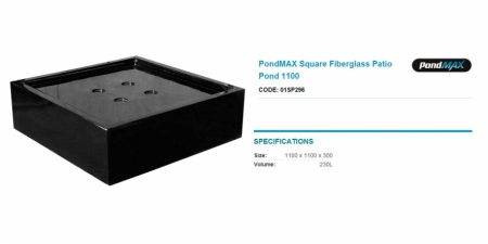 PondMAX Square Fiberglass Patio Pond 1100