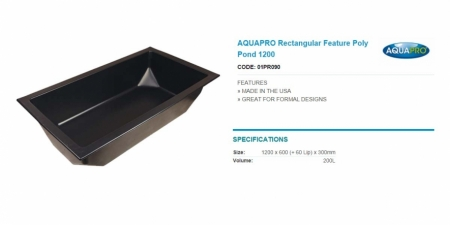AQUAPRO Rectangular Feature Poly Pond 1200