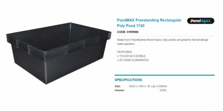 PondMAX Freestanding Rectangular Poly Pond 1740