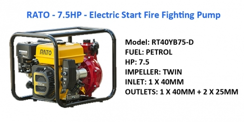 RATO - 7.5HP TWIN Fire Fighting Pump - E-Start