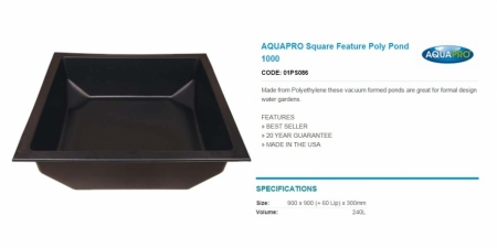 AQUAPRO Square Feature Poly Pond 1000