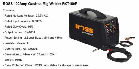 ROSS 100 Amp - RXT100P - Gasless MIG
